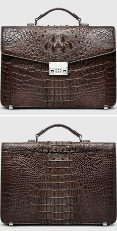 c95bf9b1c9d Large Genuine Crocodile Briefcase, Luxury Crocodile Business Bag for Men