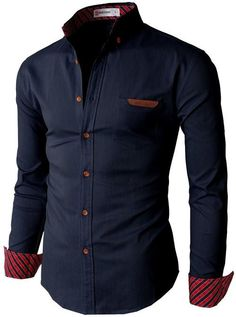 H2H Men's Oxford Shirts with Leather Point Pocket #H2H #HAVE2HAVE
