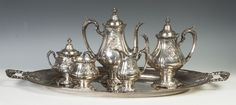 """Wallace """"Sir Christopher""""  Sterling Silver 5 Piece Tea & Coffee Set with Matching Tray, SOLD $6,650"""
