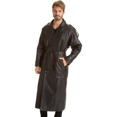 Excelled Men's Black Leather Trench Coat   Overstock.com Shopping - The Best Deals on Coats