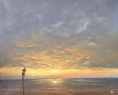 Zonsondergang, Cadzand...  Olieverf op canvas 50 x 40 cm door Bet Bee