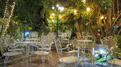 A pocket garden turned into a dreamy dining area in Darayonan Lodge in Coron, Palawan