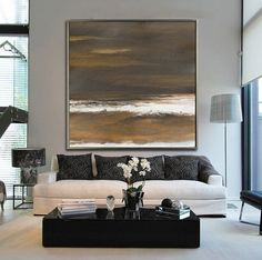 Hand Made Acrylic Painting On Canvas, Abstract Landscape Painting, Large Abstract Art. Custom Size Available.