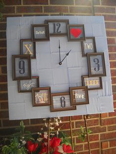 Use old picture frames to create a unique clock for a large wall space