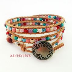 Colorful leather wrap bracelet bohemian wrap by MSwithlove on Etsy