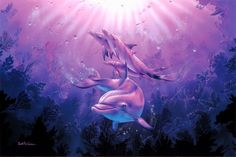 dolphins family lovely paintings love four seasons creative premade attractions in dreams nature underwater beautiful colors stunning purple blue sealife oceans Sea Dolphin, Dolphin Art, Orcas, Dolphin Family, Fauna Marina, Coral Art, Bird Wallpaper, Ocean Wallpaper, Sea World