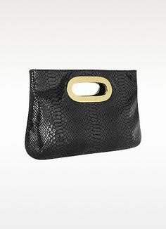 Michael Kors Berkley Python-Embossed Leather Clutch | FORZIERI