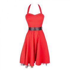 Red Halterneck Dress with Polka Dots
