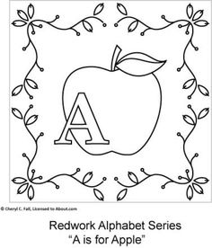 Use basic hand embroidery stitches to create a Redwork Alphabet using surface embroidery stitches with this free pattern series.  Each letter in the allphabet fits a 5-inch square. This section includes the General Directions and letters A thorugh G.: A is for Apple
