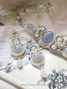 Something Old Something New Something Borrowed Something Blue Soutache Bracelet, Soutache Jewelry, Beaded Jewelry, Handmade Jewelry, Paper Earrings, Beaded Earrings, Jewelry Sets, Women Jewelry, Gold Bridal Earrings
