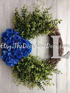 Autumn Wreath  Blue Hydrangea Wreath  Fall by TheDoorNextDoor