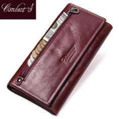 fd6f267480f1 Contact's Genuine Leather Women Long Purse Female Clutches Money Wallets  Brand Design Handbag for Cell Phone