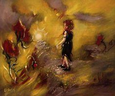 HUBBARD LIBERATION LANE POPPY GIRL OIL PAINTING BLACKSUN13R