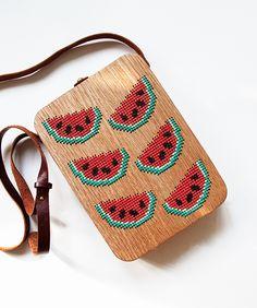 Watermelon Stitched Oak Wood Bag by Grav Grav - $400