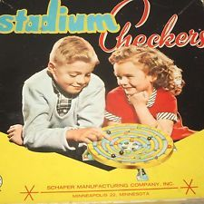 Vintage 1950's STADIUM CHECKERS Plastic Spinning Game Marbles Retro Kids on Box