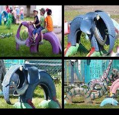 <3 this elephant car tyre.  #recycedtyres #aboutthegarden.com.au
