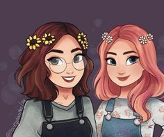 Why does this look exactly like my two OCs Valerie and Ashlynn The only thing is that Ashlynn has reddish hair and brown eyes not pink hair. But the brunette looks just like how I imagine Val but with a little darker skin tone. Girly Drawings, Art Drawings Sketches, Friend Cartoon, Best Friends Cartoon, Drawings Of Friends, Cute Best Friend Drawings, Cartoon Kunst, Cute Girl Drawing, Cartoon Art Styles