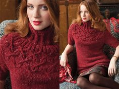 Cable Yoke Pullover, Vogue Knitting Holiday With a cabled yoke reminiscent of braided garlands, Norah Gaughans short-sleeved turtleneck, in Berrocos flecked Blackstone Tweed, is a no-brainer for casual comfort. Vogue Knitting, Sweater Knitting Patterns, Knit Patterns, Knitwear Fashion, Knitting Videos, Cable Sweater, Pulls, Long Sleeve Sweater, Knit Crochet
