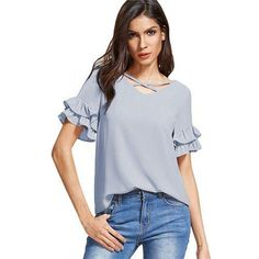 Cute Ruffle Blouse Women Grey Cross V Neck Layered Short Sleeve Summer Tops Fashion Cut Out Casual Brief Blouse