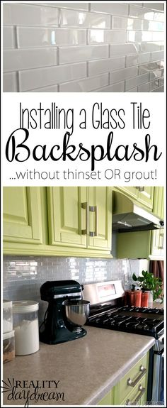 Installing a backsplash. glass tiles without messy thinset OR grout! The easiest tutorial for installing backsplash! Adhesive Backsplash, Install Backsplash, Easy Backsplash, Glass Tile Backsplash, Kitchen Backsplash, Glass Tiles, Kitchen Cabinets, Diy Hanging Shelves, Diy Wall Shelves