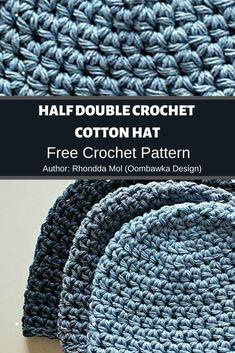 Half Double Crochet Cotton Hat ❤️ MyCrochetPattern Crochet Hook Sizes, Crochet Hooks, Free Crochet, Cotton Hat, Cotton Crochet, Crochet Symbols, Crochet Patterns, Half Double Crochet, Single Crochet