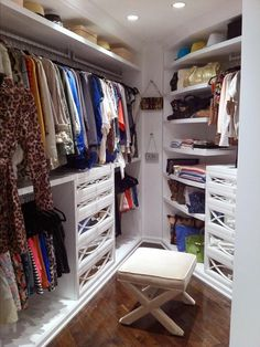 HGTV - Kendall Kyle Jenner - Glamorous walk-in closet with white built-ins, mirrored . Million Dollar Rooms, Room, Home, Dressing Room Closet, White Built Ins, Closet Shelves, Room Closet, Home Interior Design, Closet Space