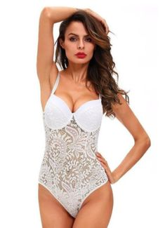 9fa57ae20 Feel good and stun the room in this seductive white lace teddy. This one  piece