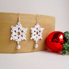 Sparkling Lace Crochet Snowflake With by PearlBridalBoutique, $12.99