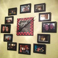 Finished my photo wall clock thingy! I'm probably going to get some different photo frames and change a couple pictures, but still! It's done at least! =)