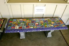 All in the Kiln - School Projects - ceramic painted images and mosaic to create a chair - great idea x