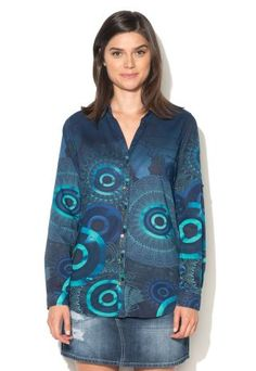 Camasa dama Desigual cu maneca lunga in nuante de albastru Denim, Blouse, Casual, Jackets, Stuff To Buy, Tops, Women, Fashion, Elegant