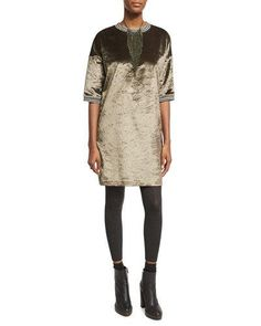 -73W8 Brunello Cucinelli  Monili Waterfall Necklace, Military Green/Silver Velvet 1/2-Sleeve Dress with Varsity Stripes Cashmere-Stretch Leggings, Charcoal