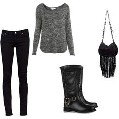 A pair of black skinny's look even better with a grey jumper, biker boots & black fringe bag....x