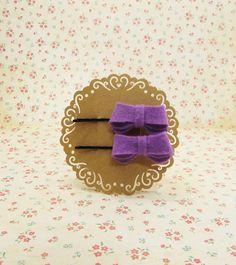Handmade wool felt hair bow in Purple to Bobby Hair Pin Clips #FB008 Set of 2PCS