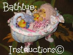 Learn 2 make a BATHTUB from DIAPERS. Fill it up with bathtime goodies. GR8 baby keepsake, gift.