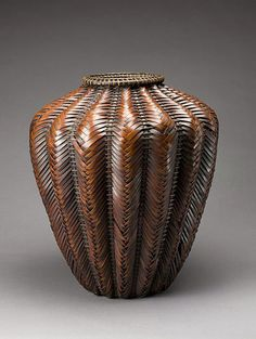 Japanese flower basket in shape of a jar | 1920 - 1950 | Bamboo (madake variety), rattan, and copper