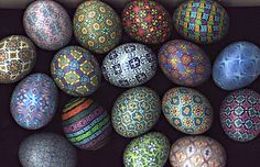 Real Ukranian Easter eggs painted with wax and then dyed. So pretty - wish I had the talent and the patience!
