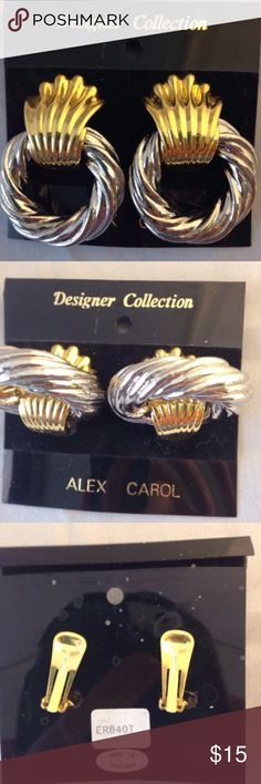 Alex Carol Convertible Clip Earrings Chrome Gold Alex Carol Convertible Clip Earrings Gold Shell Chrome Twisted Rope Hoop   Gold color shell can be removed from chrome hoop to make a different style.   Gentle clip. Looks as if it never worn, on card.   Make a statement!  Vintage from the 80s – 90s. From the estate of a lover of all kinds of jewelry. Alex Carol Jewelry Earrings