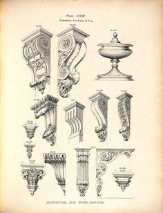 Designs for cast iron consoles, corbels and an urn