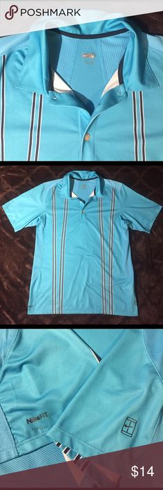 "NikeFit DryFit Striped Blue Golf Shirt, M Gently used. Great condition. 3 buttons in front, in tact. Extra button on inside label. No rips, tears or stains. Minimal wear on bottom hem near ""NikeFit"". See pic. Nike Shirts Polos"