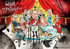 """Political Cartoon on Twitter: """"'Coming soon: Tolstoy's War and Impeachment' by David Rowe - political cartoon gallery in Putney https://t.co/nzdUYrN5if"""""""