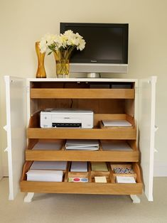 This amazing home office decor is undeniably a powerful design construct. Home Office Storage, Home Office Space, Home Office Design, Home Office Decor, Home Decor, Office Ideas, Office Setup, Printer Storage, Printer Cabinet