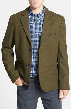 $248, Dark Green Wool Blazer: Timberland Traveler Classic Fit Blazer. Sold by Nordstrom. Click for more info: https://lookastic.com/men/shop_items/97397/redirect