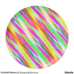 Colorful Pattern Melamine Plate: Pattern of red, orange, yellow, green and purple #Ad