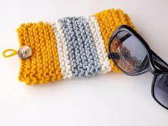 Striped Knit Glasses Case, Eyeglasses cozy, Reading Glasses, or Sunglasses Holder. $12.00, via Etsy.