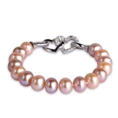 9-10 mm Pearl Bracelet Near Round 925S Silver Heart Buckle - $69.99