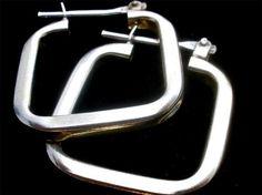 Vintage Square Hoop Earrings Sterling Silver Italy Pierced Hoops Hallmarked 925 Ebay