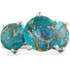 Ippolita 925 Rock Candy Three-Stone Turquoise Ring ($955) ❤ liked on Polyvore featuring jewelry, rings, turquoise, hammered ring, green turquoise jewelry, clear rings, three stone ring and ippolita