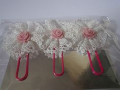Lace shabby chic book marks/ paper clips