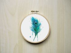Watercolour Peacock Feather Modern Counted by RhiannonsCrossStitch